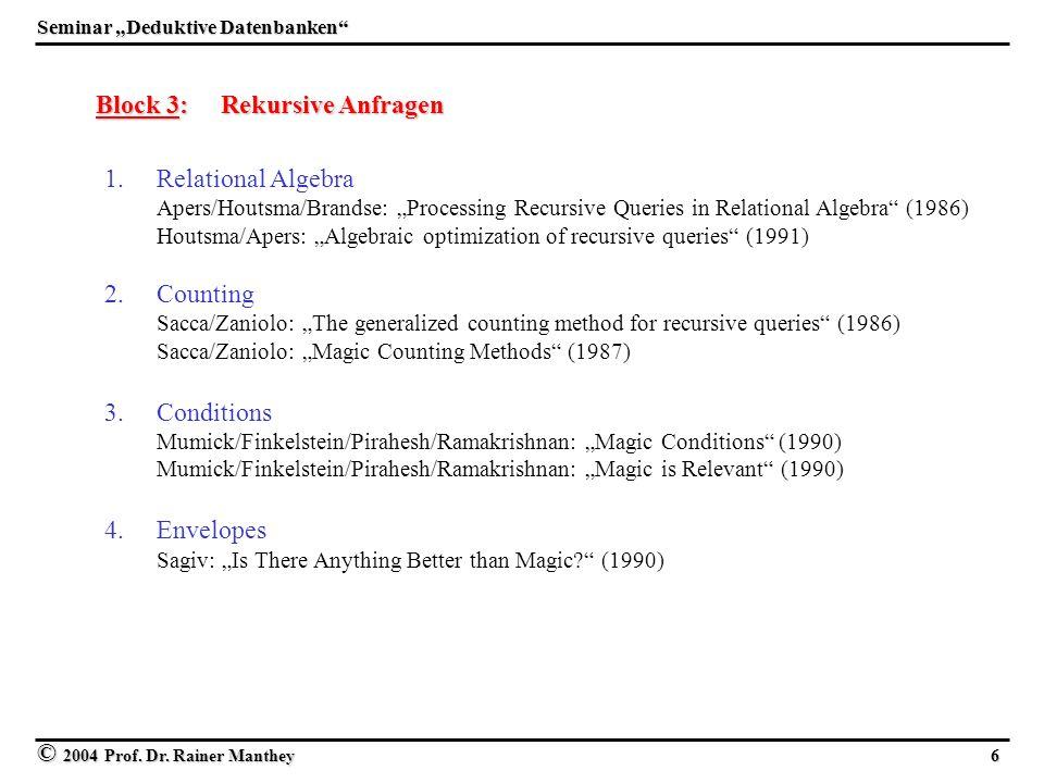 © 2004 Prof. Dr. Rainer Manthey 6 Seminar Deduktive Datenbanken Block 3: Rekursive Anfragen 1. 1.Relational Algebra Apers/Houtsma/Brandse: Processing