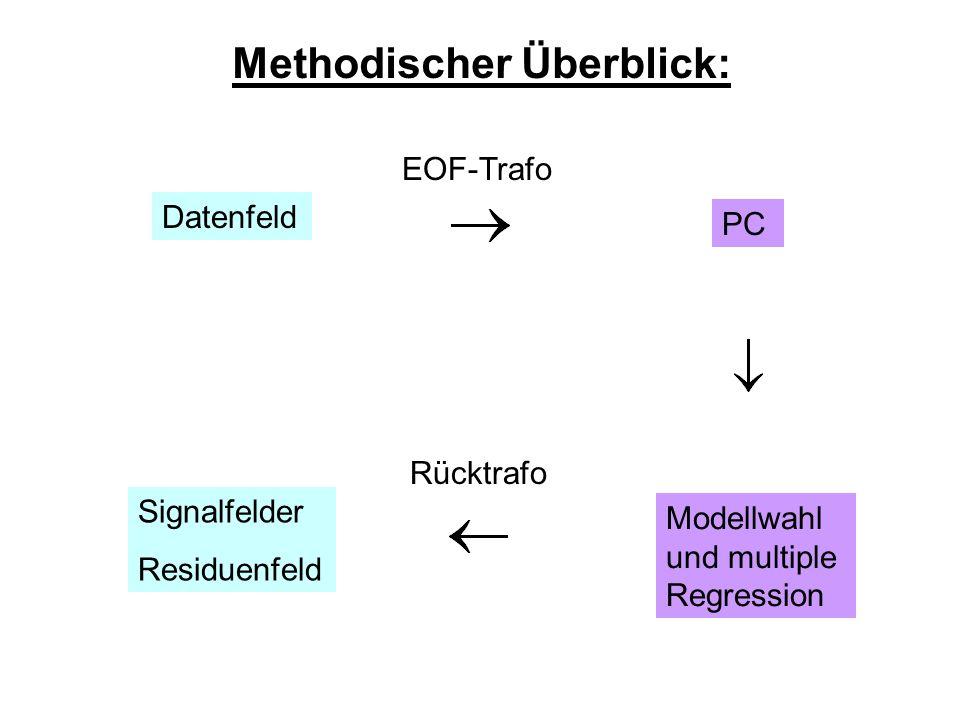 Methodischer Überblick: Datenfeld EOF-Trafo PC Modellwahl und multiple Regression Rücktrafo Signalfelder Residuenfeld