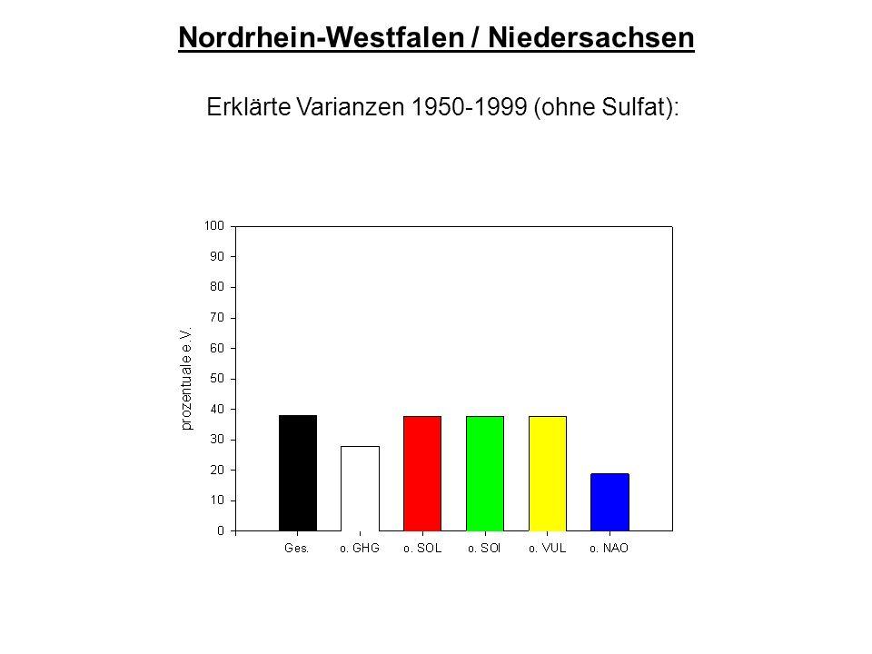 Nordrhein-Westfalen / Niedersachsen Erklärte Varianzen 1950-1999 (ohne Sulfat):