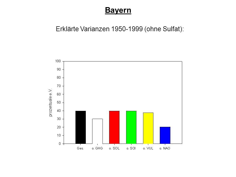Erklärte Varianzen 1950-1999 (ohne Sulfat): Bayern