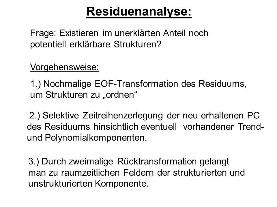 Residuenanalyse: Frage: Existieren im unerklärten Anteil noch potentiell erklärbare Strukturen.