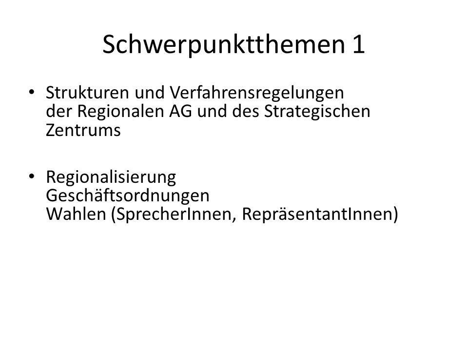 Schwerpunktthemen 1 Strukturen und Verfahrensregelungen der Regionalen AG und des Strategischen Zentrums Regionalisierung Geschäftsordnungen Wahlen (S