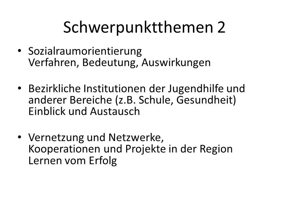 Schwerpunktthemen 2 Sozialraumorientierung Verfahren, Bedeutung, Auswirkungen Bezirkliche Institutionen der Jugendhilfe und anderer Bereiche (z.B. Sch
