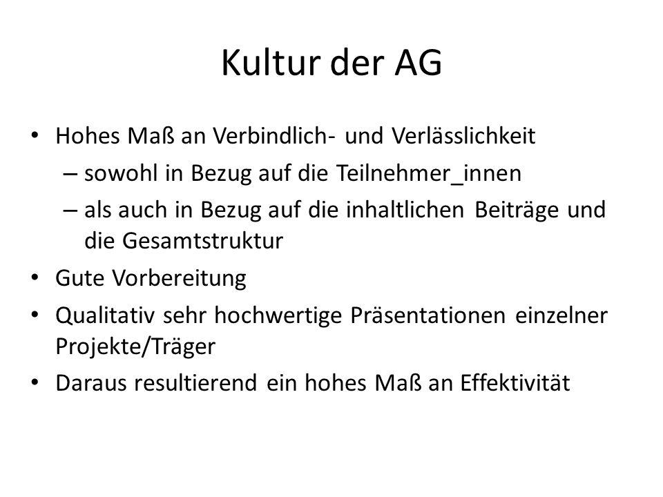 Kultur der AG Hohes Maß an Verbindlich- und Verlässlichkeit – sowohl in Bezug auf die Teilnehmer_innen – als auch in Bezug auf die inhaltlichen Beiträ