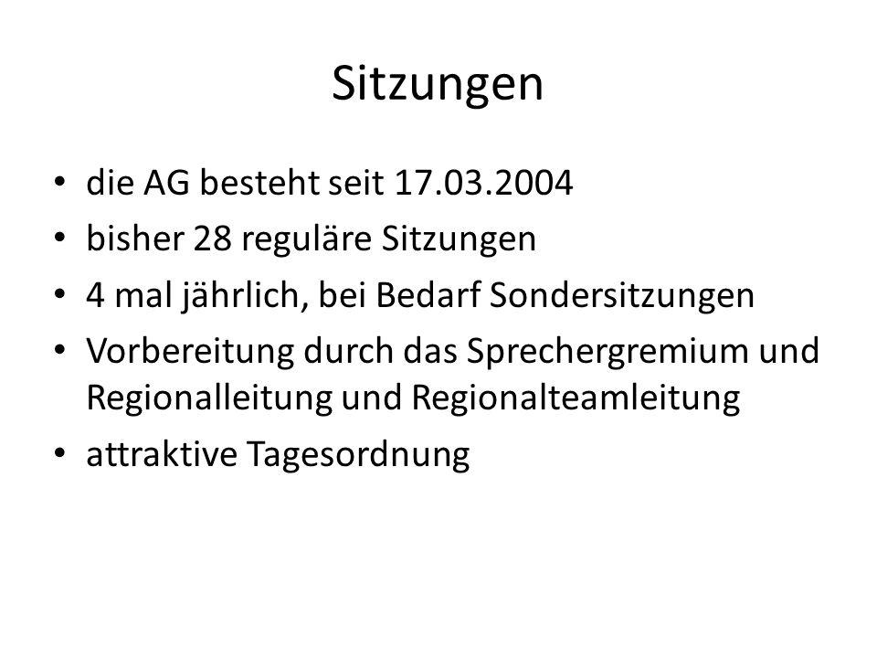 Sitzungen die AG besteht seit 17.03.2004 bisher 28 reguläre Sitzungen 4 mal jährlich, bei Bedarf Sondersitzungen Vorbereitung durch das Sprechergremiu