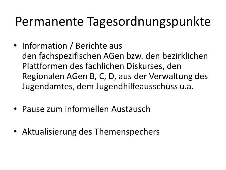 Permanente Tagesordnungspunkte Information / Berichte aus den fachspezifischen AGen bzw. den bezirklichen Plattformen des fachlichen Diskurses, den Re