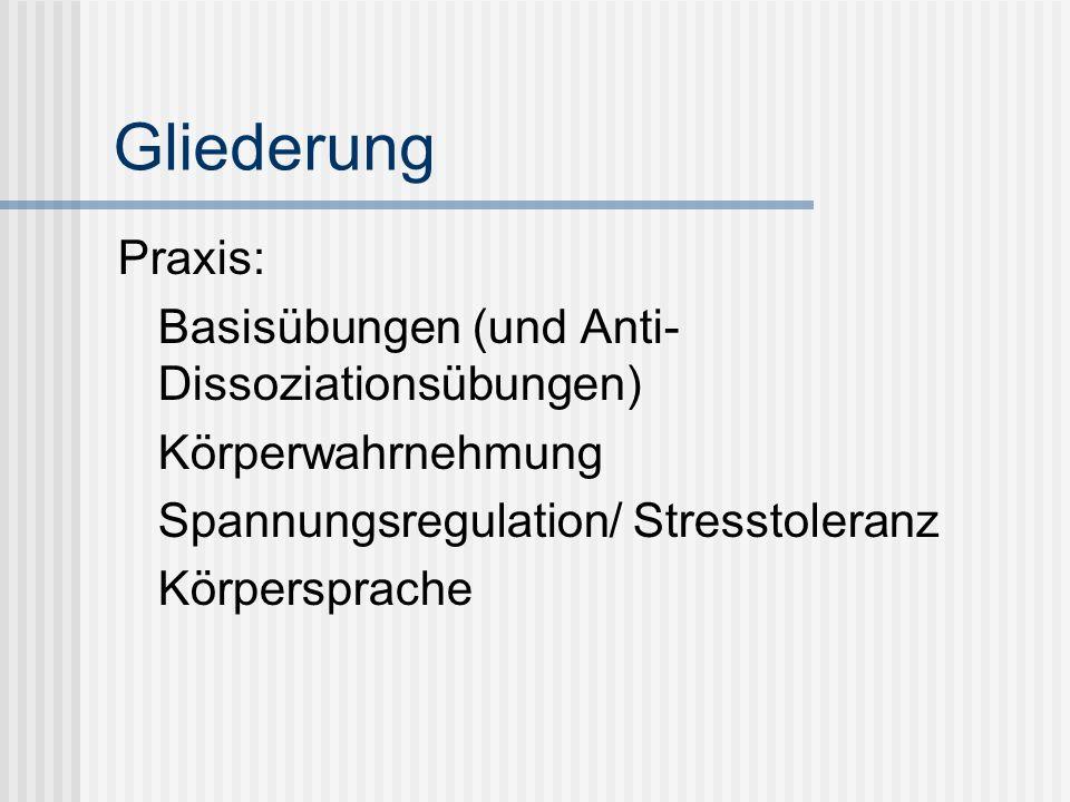 Struktur Körpertherapiestunde Achtsamkeitsübung (Beispiel) Körperskills aus allen 3 Bereichen Unterer Anspannungsbereich : Körperwahrnehmung, Achtsamkeit Mittlerer Anspannungsbereich: Basisübungen, Kraft- und Beweglichkeits- Koordinationsübungen