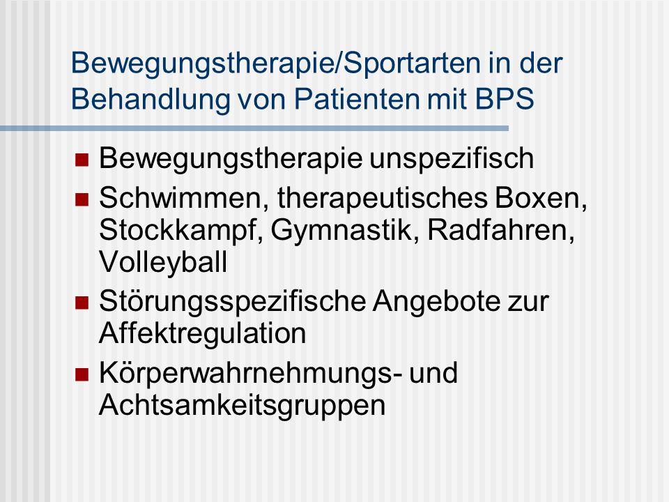 Körpertherapie bei BPS Die Bedeutung des Körperkonzeptes steht nach Haaf und Bohus im engen Zusammenhang mit mit Selbstkonzept und könnte deshalb von klinischer Relevanz sein Verbesserung des Körpergefühls könnte zu positiven Veränderungen des Selbstkonzeptes und der Symptomatik führen.