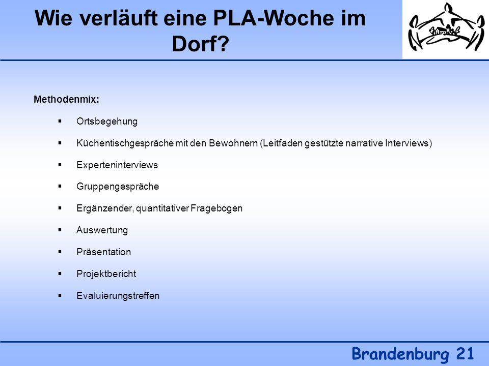 Wie verläuft eine PLA-Woche im Dorf? Brandenburg 21 Methodenmix: Ortsbegehung Küchentischgespräche mit den Bewohnern (Leitfaden gestützte narrative In