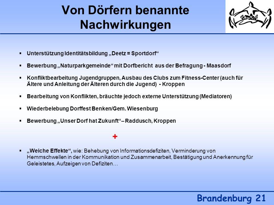 Von Dörfern benannte Nachwirkungen Brandenburg 21 Unterstützung Identitätsbildung Deetz = Sportdorf Bewerbung Naturparkgemeinde mit Dorfbericht aus de