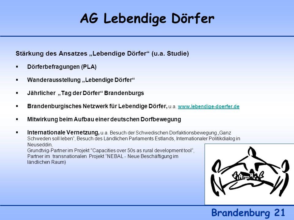 AG Lebendige Dörfer Brandenburg 21 Stärkung des Ansatzes Lebendige Dörfer (u.a. Studie) Dörferbefragungen (PLA) Wanderausstellung Lebendige Dörfer Jäh