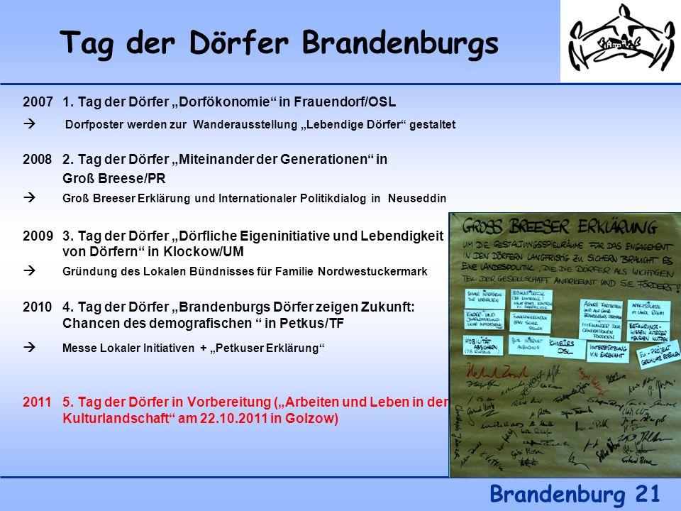 Tag der Dörfer Brandenburgs Brandenburg 21 20071. Tag der Dörfer Dorfökonomie in Frauendorf/OSL Dorfposter werden zur Wanderausstellung Lebendige Dörf