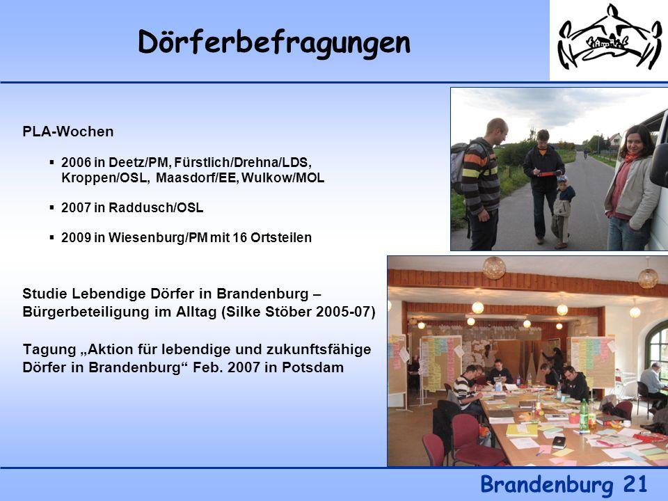 Dörferbefragungen Brandenburg 21 PLA-Wochen 2006 in Deetz/PM, Fürstlich/Drehna/LDS, Kroppen/OSL, Maasdorf/EE, Wulkow/MOL 2007 in Raddusch/OSL 2009 in