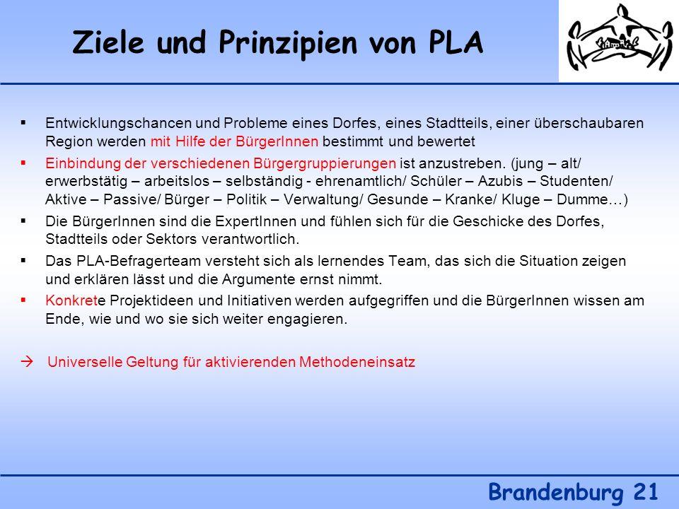 Ziele und Prinzipien von PLA Brandenburg 21 Entwicklungschancen und Probleme eines Dorfes, eines Stadtteils, einer überschaubaren Region werden mit Hi