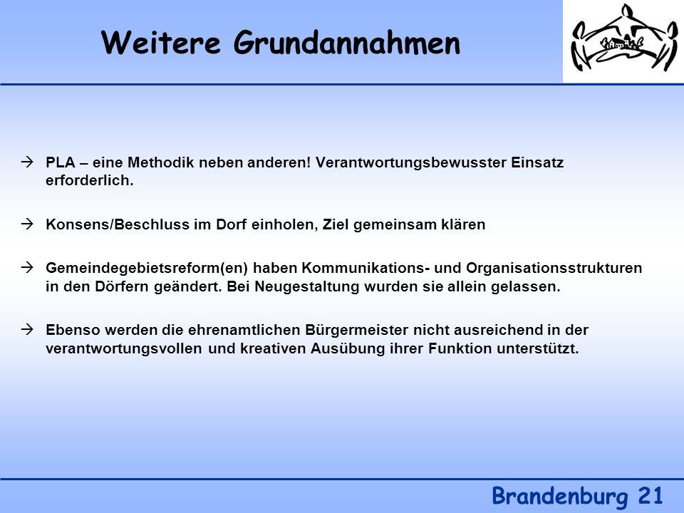 Weitere Grundannahmen Brandenburg 21 PLA – eine Methodik neben anderen! Verantwortungsbewusster Einsatz erforderlich. Konsens/Beschluss im Dorf einhol