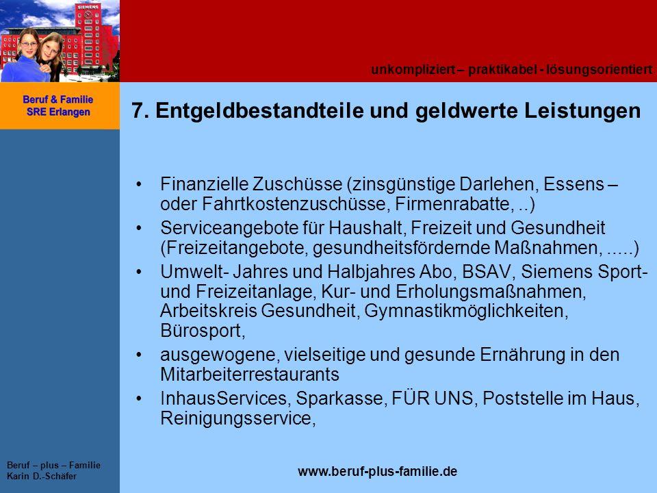 unkompliziert – praktikabel - lösungsorientiert www.beruf-plus-familie.de Beruf – plus – Familie Karin D.-Schäfer 7. Entgeldbestandteile und geldwerte