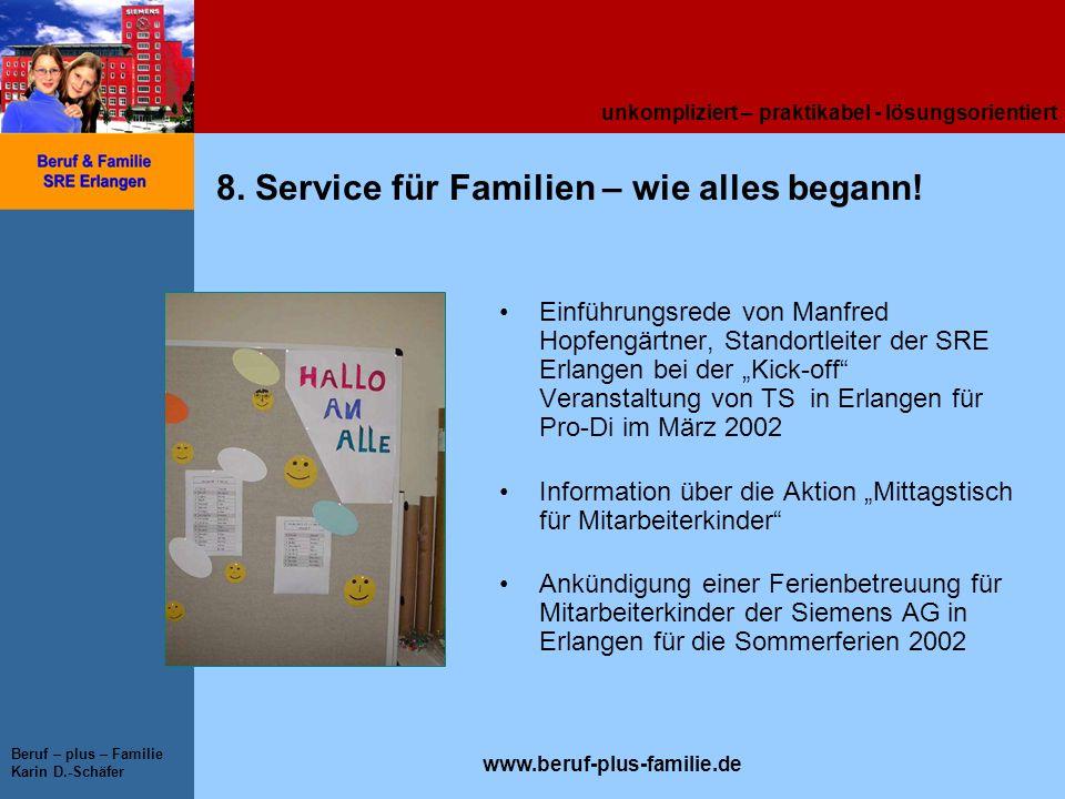 unkompliziert – praktikabel - lösungsorientiert www.beruf-plus-familie.de Beruf – plus – Familie Karin D.-Schäfer 8. Service für Familien – wie alles