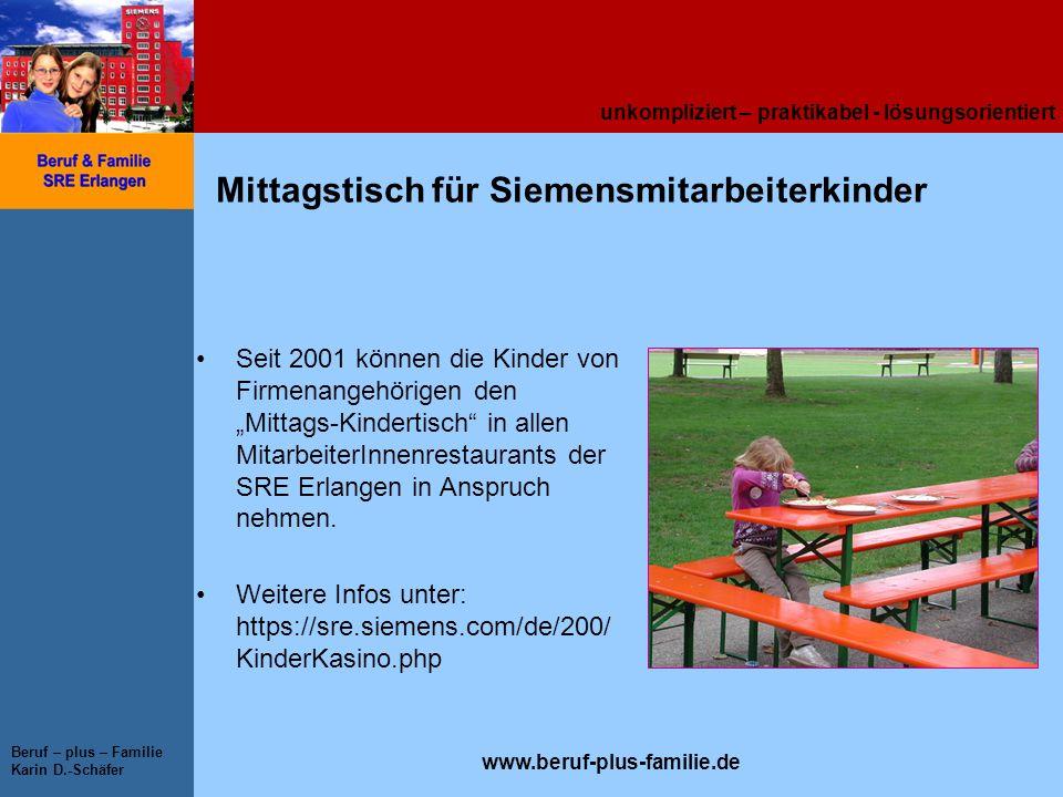 unkompliziert – praktikabel - lösungsorientiert www.beruf-plus-familie.de Beruf – plus – Familie Karin D.-Schäfer Mittagstisch für Siemensmitarbeiterk