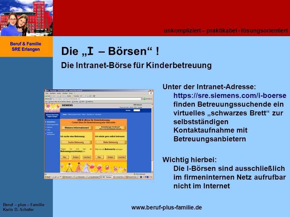 unkompliziert – praktikabel - lösungsorientiert www.beruf-plus-familie.de Beruf – plus – Familie Karin D.-Schäfer Die I – Börsen ! Unter der Intranet-