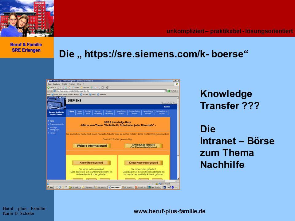 unkompliziert – praktikabel - lösungsorientiert www.beruf-plus-familie.de Beruf – plus – Familie Karin D.-Schäfer Die https://sre.siemens.com/k- boers