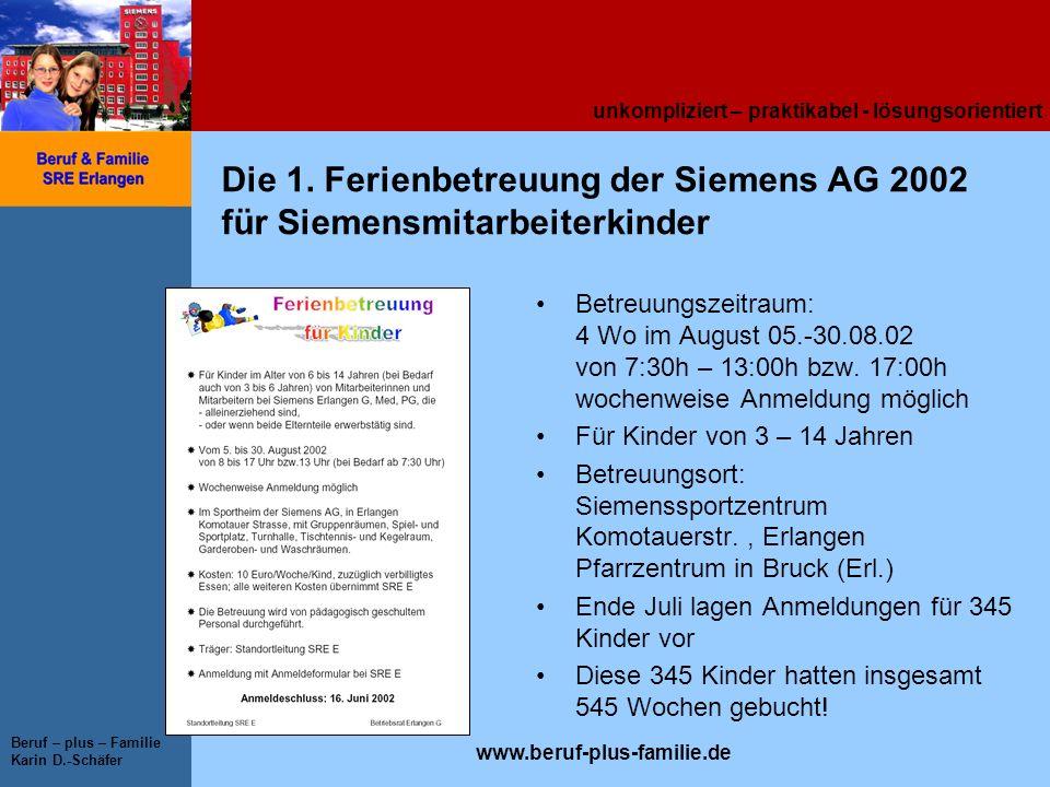 unkompliziert – praktikabel - lösungsorientiert www.beruf-plus-familie.de Beruf – plus – Familie Karin D.-Schäfer Die 1. Ferienbetreuung der Siemens A