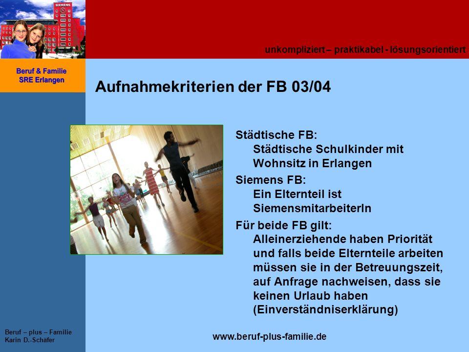 unkompliziert – praktikabel - lösungsorientiert www.beruf-plus-familie.de Beruf – plus – Familie Karin D.-Schäfer Aufnahmekriterien der FB 03/04 Städt