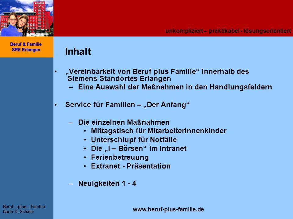 unkompliziert – praktikabel - lösungsorientiert www.beruf-plus-familie.de Beruf – plus – Familie Karin D.-Schäfer Inhalt Vereinbarkeit von Beruf plus
