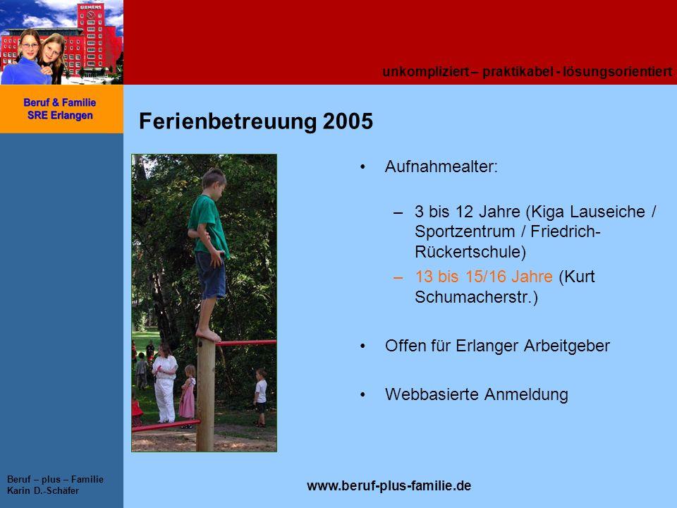 unkompliziert – praktikabel - lösungsorientiert www.beruf-plus-familie.de Beruf – plus – Familie Karin D.-Schäfer Ferienbetreuung 2005 Aufnahmealter: