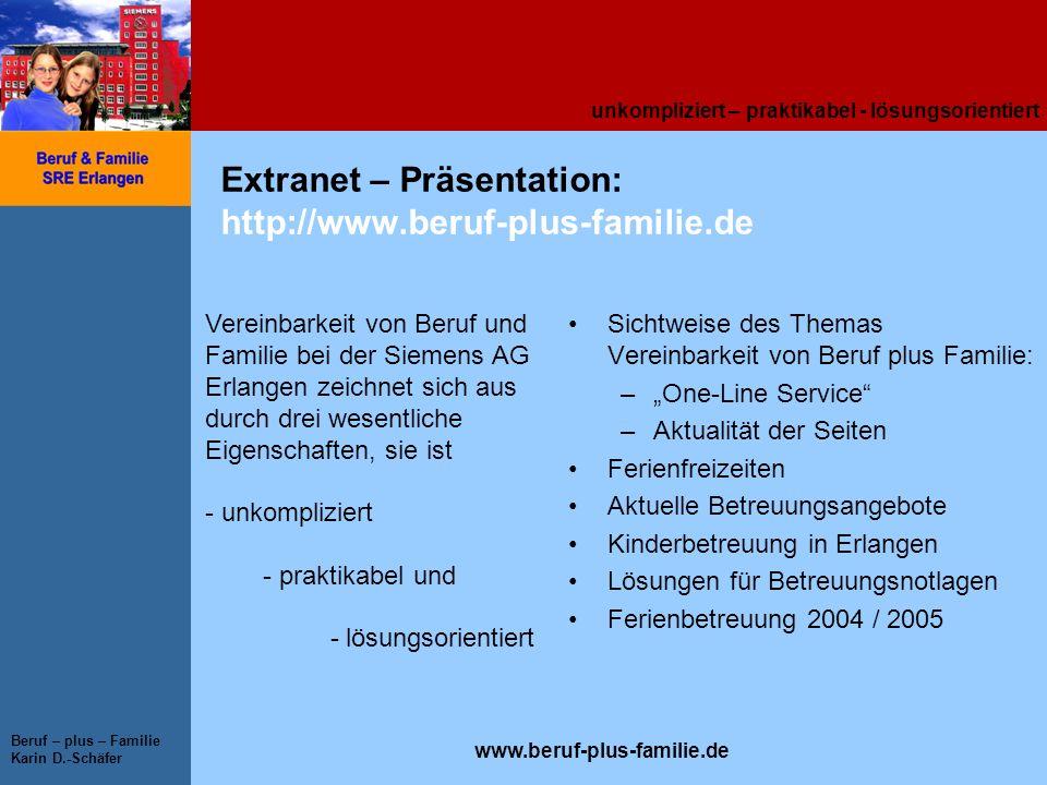 unkompliziert – praktikabel - lösungsorientiert www.beruf-plus-familie.de Beruf – plus – Familie Karin D.-Schäfer Extranet – Präsentation: http://www.
