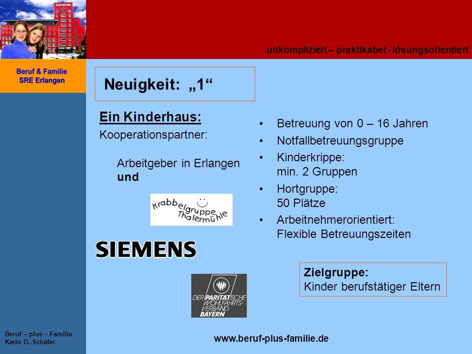 unkompliziert – praktikabel - lösungsorientiert www.beruf-plus-familie.de Beruf – plus – Familie Karin D.-Schäfer Neuigkeit: 1 Ein Kinderhaus: Koopera
