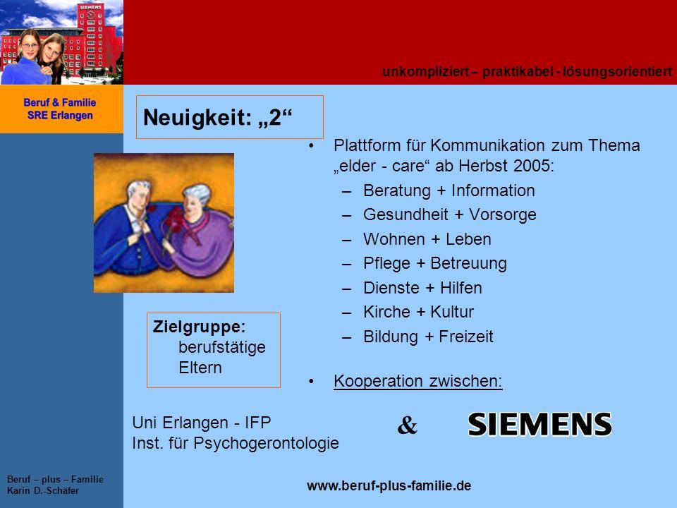unkompliziert – praktikabel - lösungsorientiert www.beruf-plus-familie.de Beruf – plus – Familie Karin D.-Schäfer Neuigkeit: 2 Plattform für Kommunika