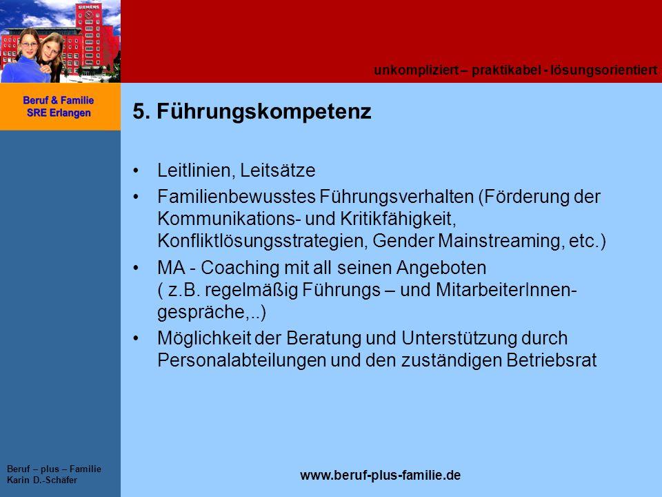 unkompliziert – praktikabel - lösungsorientiert www.beruf-plus-familie.de Beruf – plus – Familie Karin D.-Schäfer 5. Führungskompetenz Leitlinien, Lei