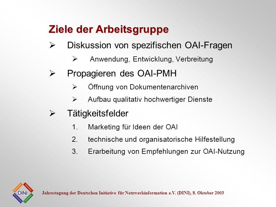 Jahrestagung der Deutschen Initiative für Netzwerkinformation e.V. (DINI), 8. Oktober 2003 Diskussion von spezifischen OAI-Fragen Anwendung, Entwicklu