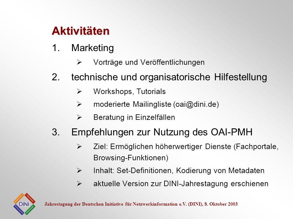 Jahrestagung der Deutschen Initiative für Netzwerkinformation e.V. (DINI), 8. Oktober 2003 1.Marketing Vorträge und Veröffentlichungen 2.technische un