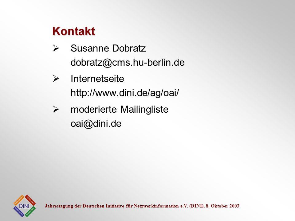 Jahrestagung der Deutschen Initiative für Netzwerkinformation e.V. (DINI), 8. Oktober 2003 Susanne Dobratz dobratz@cms.hu-berlin.de Internetseite http