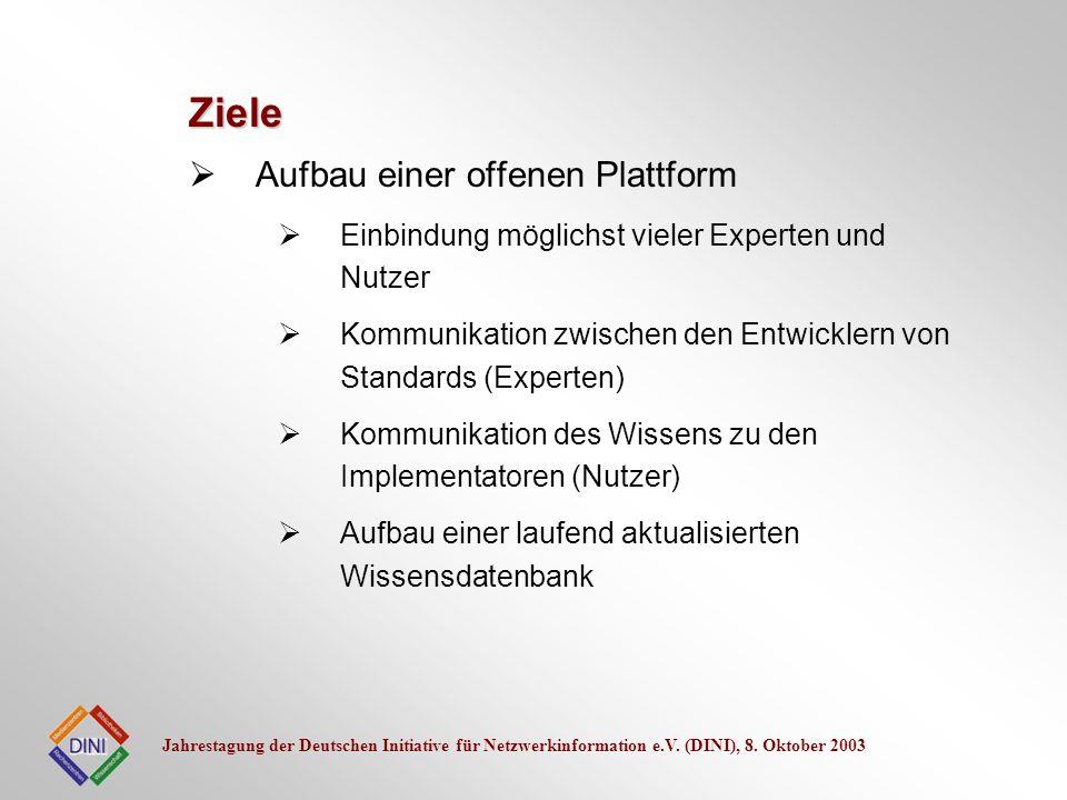 Jahrestagung der Deutschen Initiative für Netzwerkinformation e.V. (DINI), 8. Oktober 2003 Aufbau einer offenen Plattform Einbindung möglichst vieler