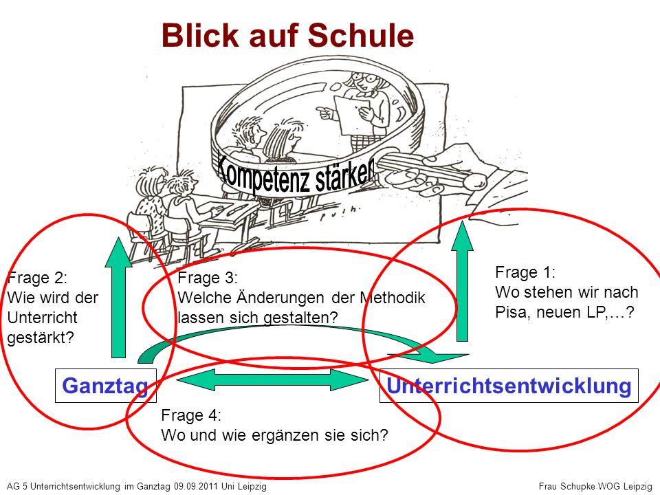 AG 5 Unterrichtsentwicklung im Ganztag 09.09.2011 Uni Leipzig Frau Schupke WOG Leipzig Blick auf Schule UnterrichtsentwicklungGanztag Frage 4: Wo und wie ergänzen sie sich.