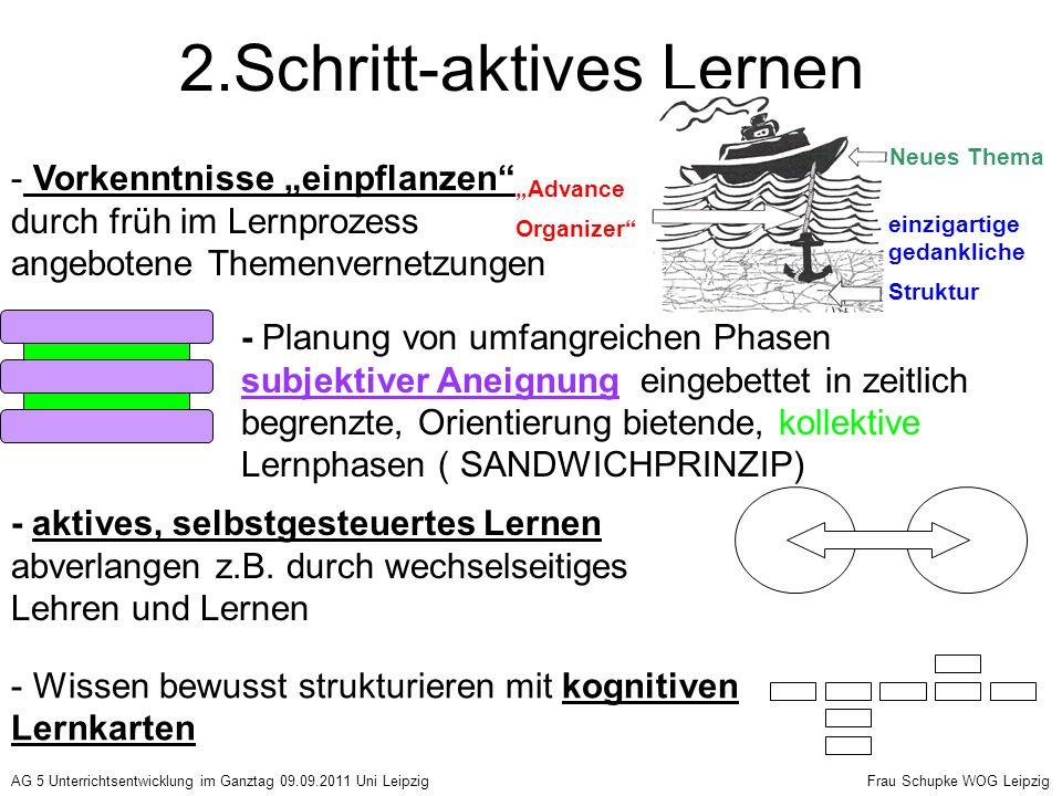 2.Schritt-aktives Lernen Advance Organizer einzigartige gedankliche Struktur Neues Thema - Vorkenntnisse einpflanzen durch früh im Lernprozess angebot