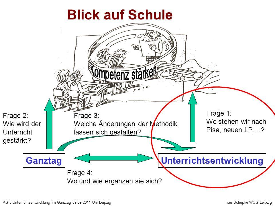 AG 5 Unterrichtsentwicklung im Ganztag 09.09.2011 Uni Leipzig Frau Schupke WOG Leipzig Blick auf Schule UnterrichtsentwicklungGanztag Frage 4: Wo und