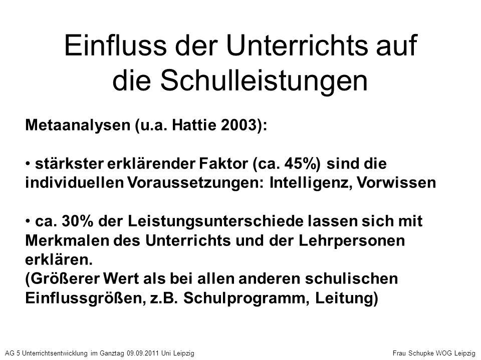 Einfluss individuelle Faktoren Intelligenz von r = 0,5 absinkend auf r = 0,3 bis 0 Motivation Wille Interesse r = 0,2 bis 0,3 unterschiedliche Vorkenntnisse bis r = 0,70 Wissensparadoxon Unterschiede im Lerntempo + AG 5 Unterrichtsentwicklung im Ganztag 09.09.2011 Uni Leipzig Frau Schupke WOG Leipzig