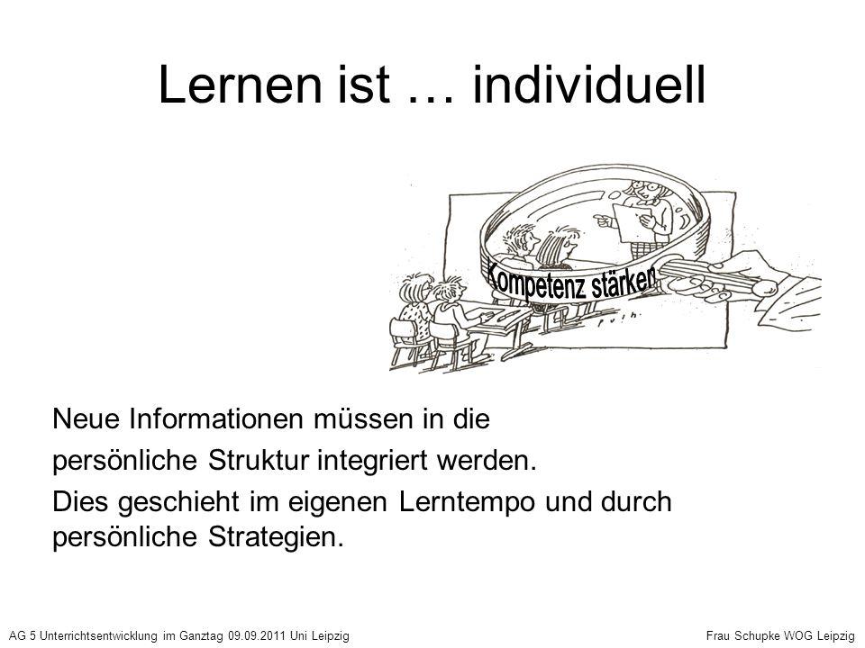 Lernen ist … individuell Neue Informationen müssen in die persönliche Struktur integriert werden. Dies geschieht im eigenen Lerntempo und durch persön