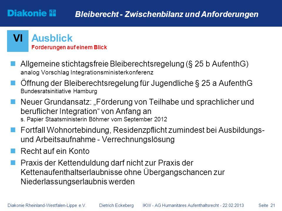 Seite 21 Allgemeine stichtagsfreie Bleiberechtsregelung (§ 25 b AufenthG) analog Vorschlag Integrationsministerkonferenz Öffnung der Bleiberechtsregel