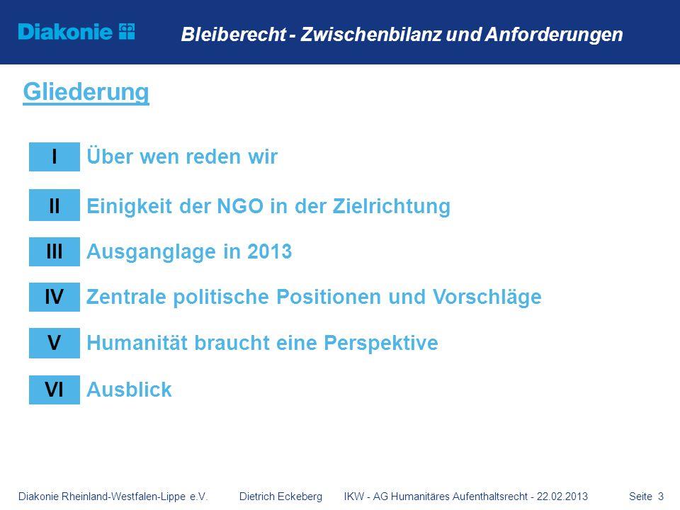 Diakonie Rheinland-Westfalen-Lippe e.V. Dietrich Eckeberg IKW - AG Humanitäres Aufenthaltsrecht - 22.02.2013Seite 3 Bleiberecht - Zwischenbilanz und A