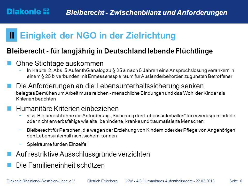 Seite 6 Bleiberecht - für langjährig in Deutschland lebende Flüchtlinge Ohne Stichtage auskommen - In Kapitel 2, Abs. 5 AufenthG analog zu § 25 a nach