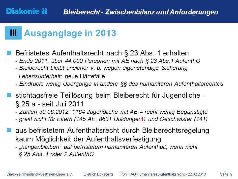 Seite 9 Befristetes Aufenthaltsrecht nach § 23 Abs. 1 erhalten - Ende 2011: über 44.000 Personen mit AE nach § 23 Abs.1 AufenthG - Bleiberecht bleibt