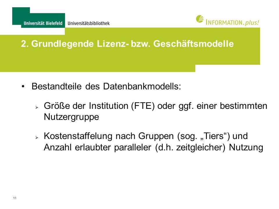 11 2. Grundlegende Lizenz- bzw. Geschäftsmodelle Bestandteile des Datenbankmodells: Größe der Institution (FTE) oder ggf. einer bestimmten Nutzergrupp