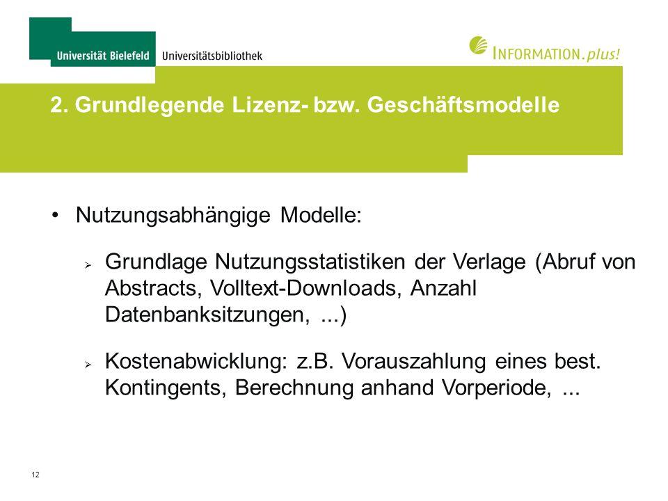 12 2. Grundlegende Lizenz- bzw. Geschäftsmodelle Nutzungsabhängige Modelle: Grundlage Nutzungsstatistiken der Verlage (Abruf von Abstracts, Volltext-D