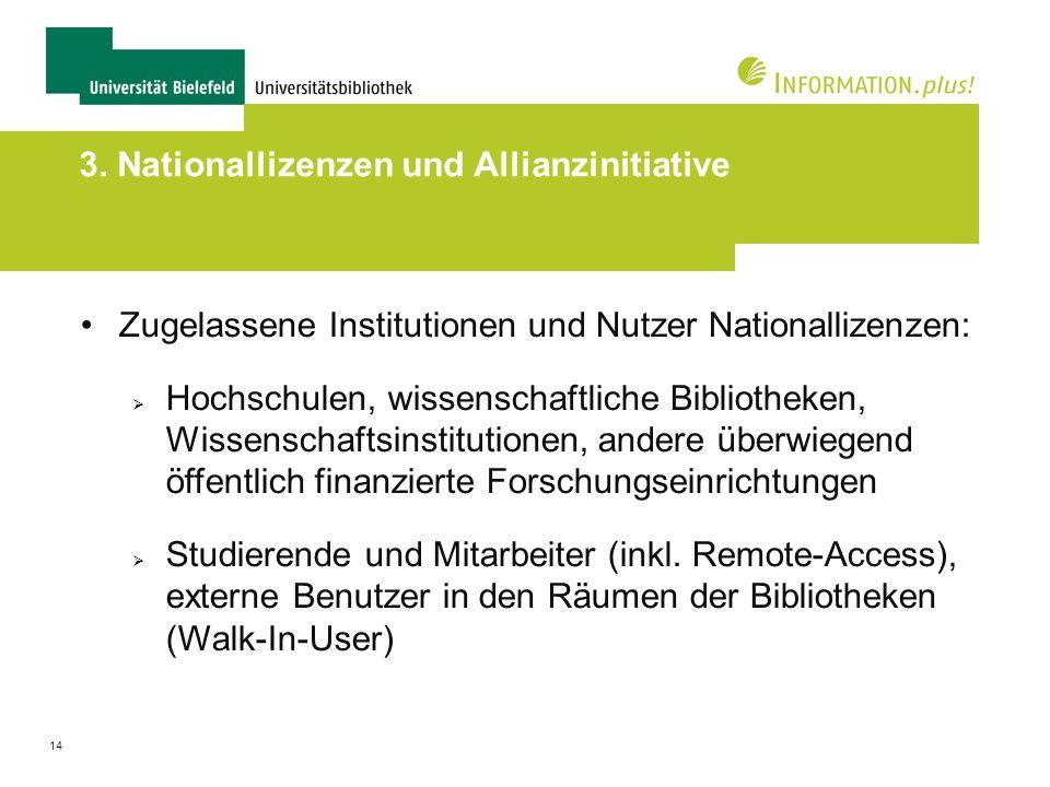 14 3. Nationallizenzen und Allianzinitiative Zugelassene Institutionen und Nutzer Nationallizenzen: Hochschulen, wissenschaftliche Bibliotheken, Wisse