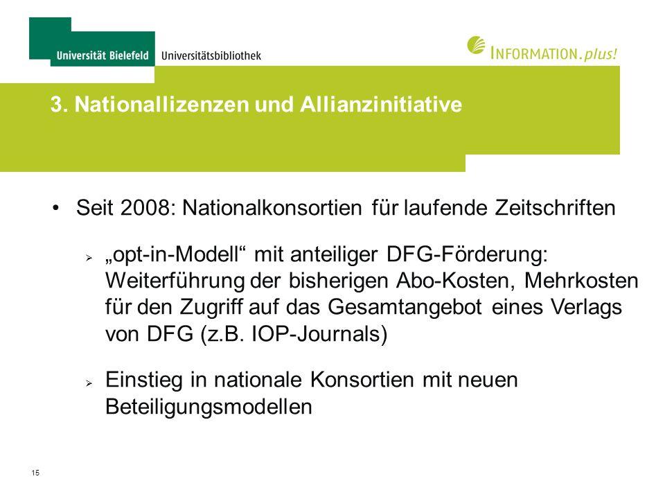 15 3. Nationallizenzen und Allianzinitiative Seit 2008: Nationalkonsortien für laufende Zeitschriften opt-in-Modell mit anteiliger DFG-Förderung: Weit