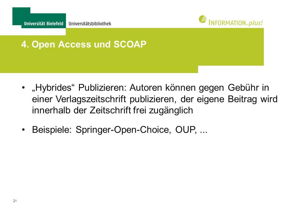 21 4. Open Access und SCOAP Hybrides Publizieren: Autoren können gegen Gebühr in einer Verlagszeitschrift publizieren, der eigene Beitrag wird innerha